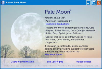 Pale Moon information splash.