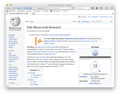 Pale Moon Wikipedia article in Pale Moon