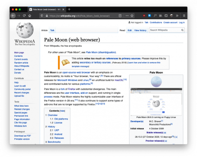 Pale Moon Wikipedia article in Firefox