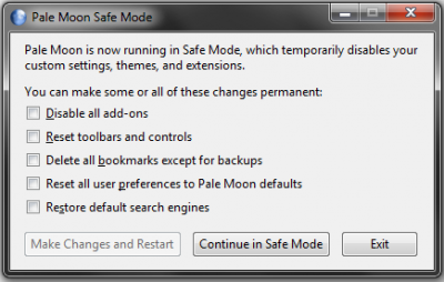 Safe Mode window